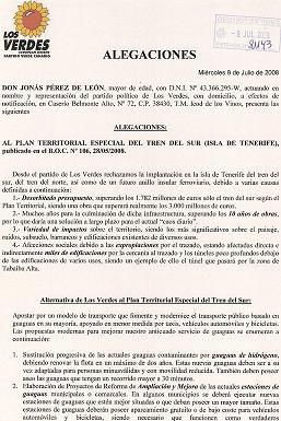 ALEGACIONES DE LOS VERDES AL PLAN TERRITORIAL ESPECIAL DEL TREN DEL SUR